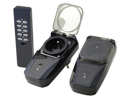 Trust 2 draadloze stopcontacten IP44 met afstandsbediening zwart