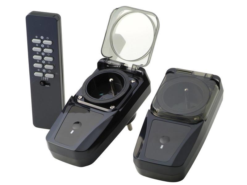 Trust 2 prises IP44 avec télécommande sans fil noir