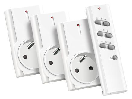 Trust 3 prises 1500W sans fil avec télécommande blanc