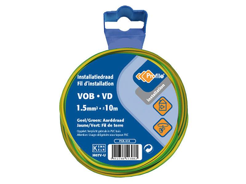 Profile Aarding VOB-kabel 1,5 geel-groen 10m
