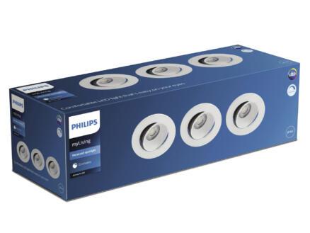 Philips Abrosa LED inbouwspot reflector 3x9 W dimbaar wit