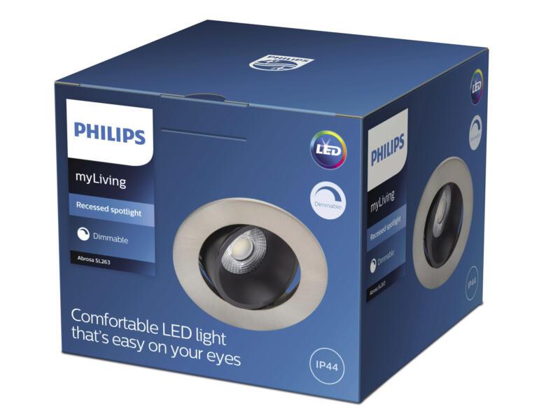 Philips Abrosa spot LED encastrable réflecteur 9W nickel gris