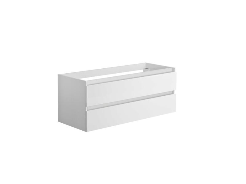 Allibert Alma meuble pour lavabo double 120cm 2 tiroirs blanc brillant