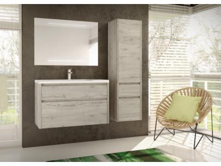 Allibert Aston meuble lavabo 100cm 2 tiroirs chêne vintage