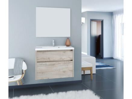 Allibert Aston meuble lavabo 80cm 2 tiroirs chêne vintage