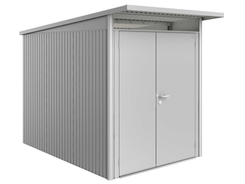 Biohort AvantGarde A3 tuinhuis 180x217x300 cm zilver metaal met dubbele deur