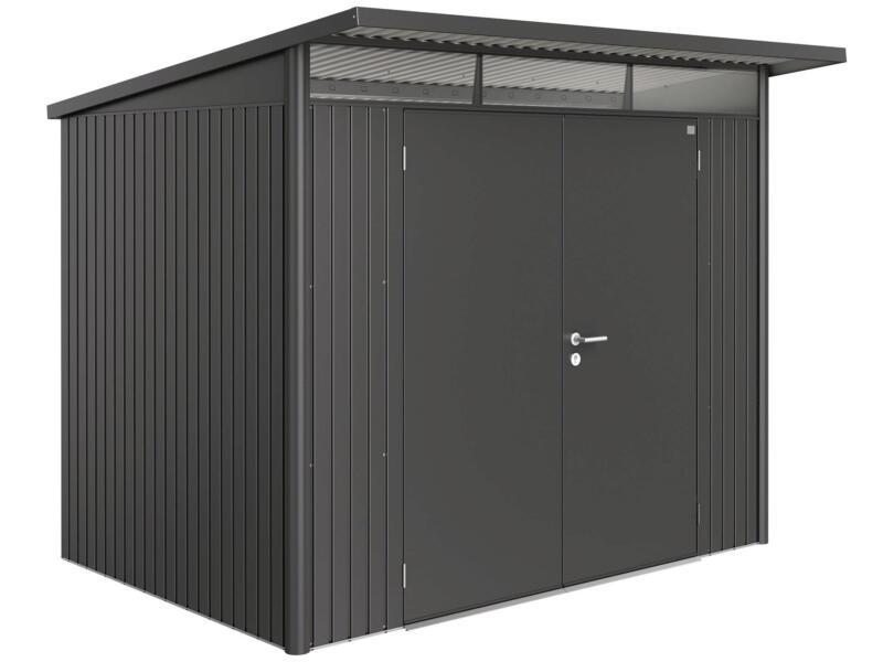 Biohort AvantGarde A5 tuinhuis 260x218x220 cm donkergrijs metaal met dubbele deur