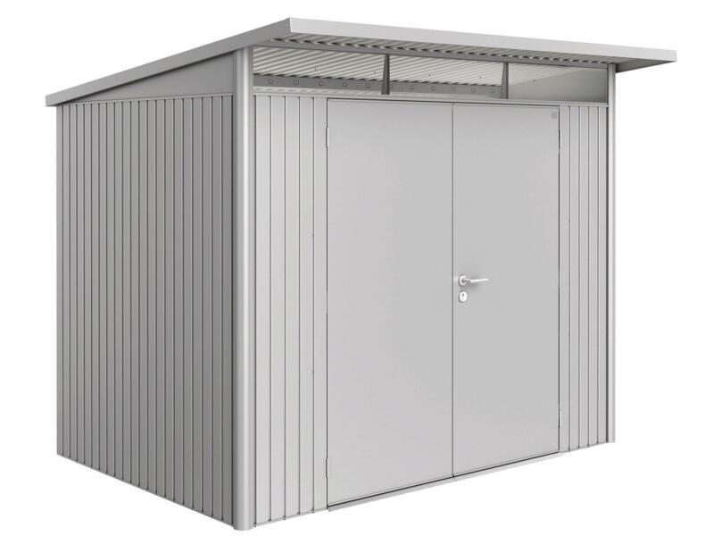 Biohort AvantGarde A5 tuinhuis 260x218x220 cm zilver metaal met dubbele deur