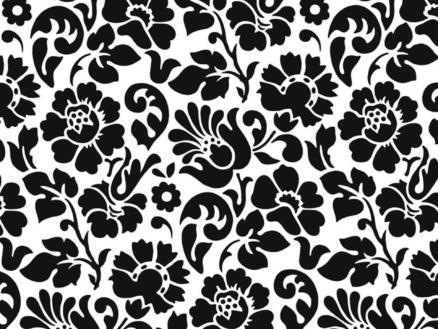 Barock film adhésif décoratif 45cm x 2m fleurs noir/blanc