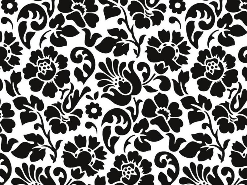 Barock zelfklevende folie decoratie 45cm x 2m bloemen zwart/wit