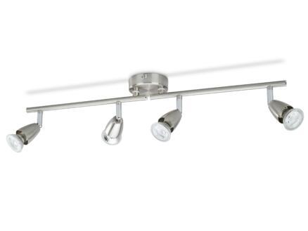 Prolight Barre de spots LED GU10 4x3W nickel