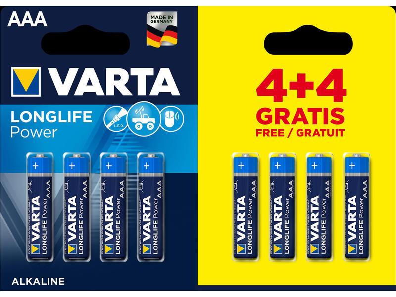 Varta Batterij High Energy AAA 4+4 gratis