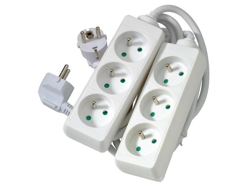 Profile Bloc multiprise 3x avec câble 1,5m blanc 2 pièces
