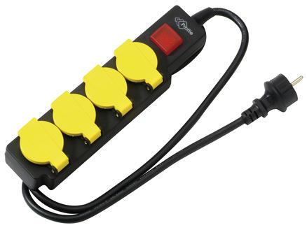 Profile Bloc multiprise 4x avec interrupteur et câble 1,5m étanche noir