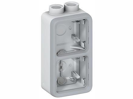 Legrand Boîte double Plexo 2 entrées gris clair