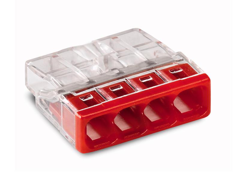 Borne à connexion rapide 4x 0,5-2,5 mm² rouge 10 pièces