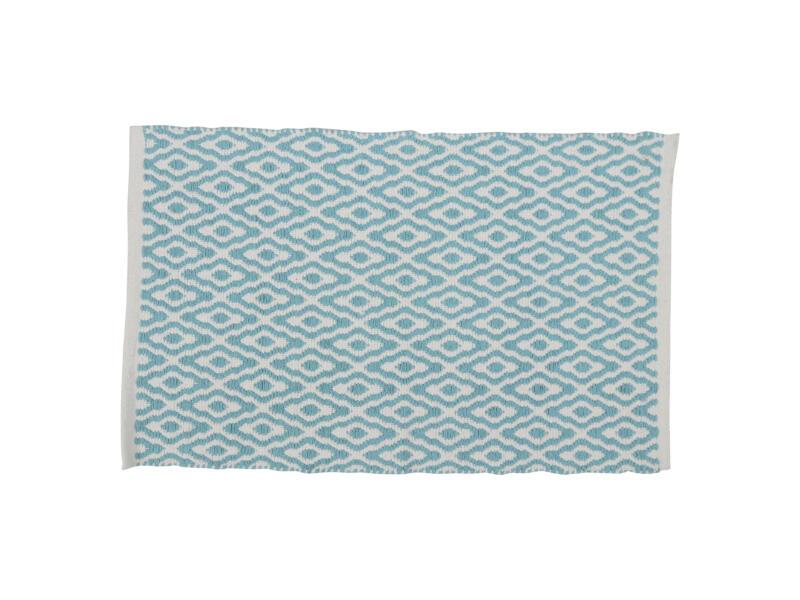 Differnz Brighton badmat 80x50 cm blauw/wit