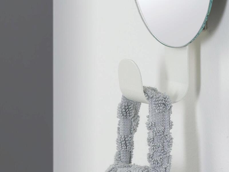 Sealskin Brix crochet porte-serviette avec miroir 6cm blanc