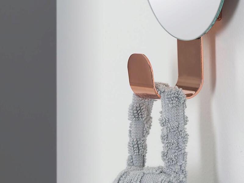 Sealskin Brix handdoekhaakje met spiegel 6cm koper