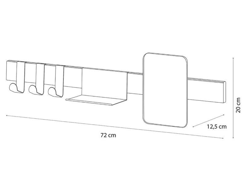 Sealskin Brix kapstok met spiegel 72cm wit
