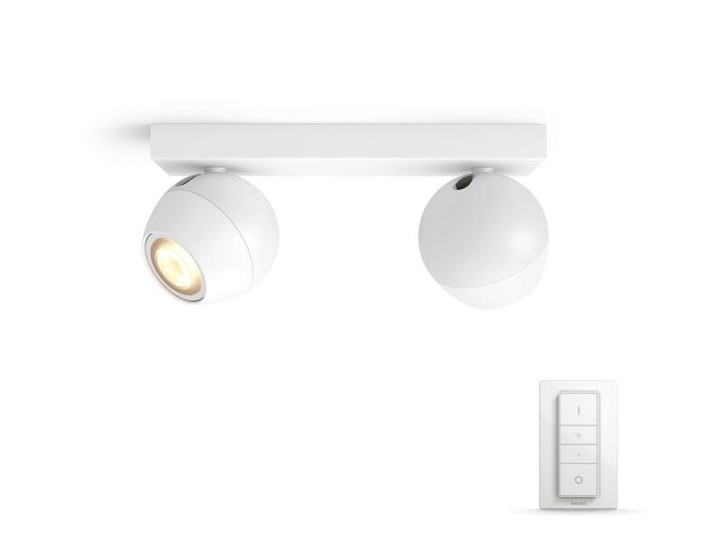 Philips Hue Buckram LED balkspot GU10 2x5,5W wit + dimmer