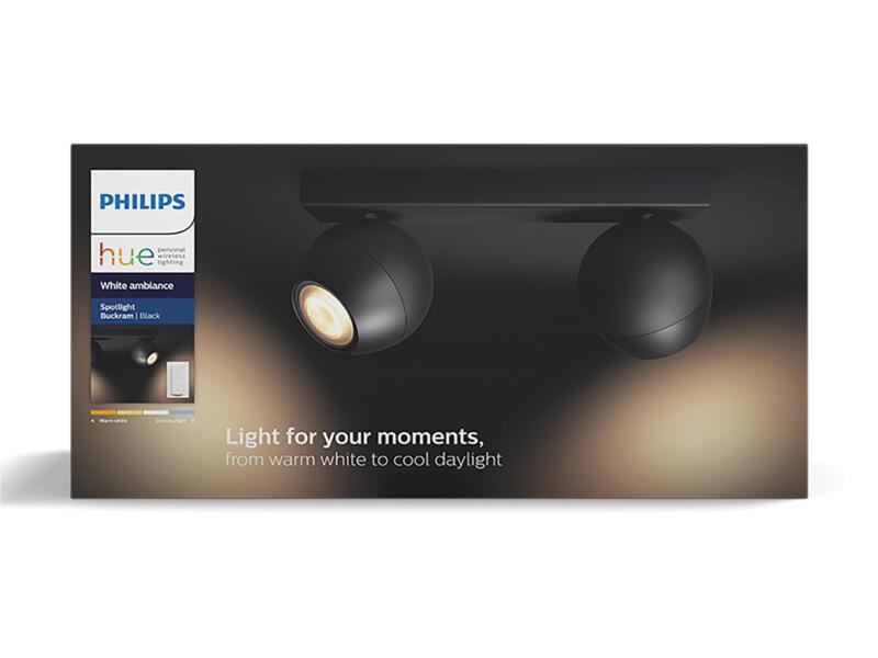 Philips Hue Buckram LED balkspot GU10 2x5,5W zwart + dimmer