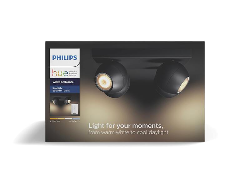 Hue Buckram LED balkspot GU10 4x5,5 zwart + dimmer