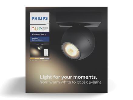 Philips Hue Buckram spot LED mural GU10 5,5W + dimmer noir