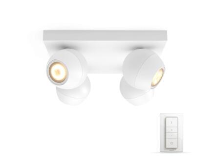 Hue Buckram spot de plafond LED GU10 4x5,5W blanc + dimmer