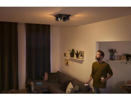 Hue Buckram spot de plafond LED GU10 4x5,5W noir + dimmer