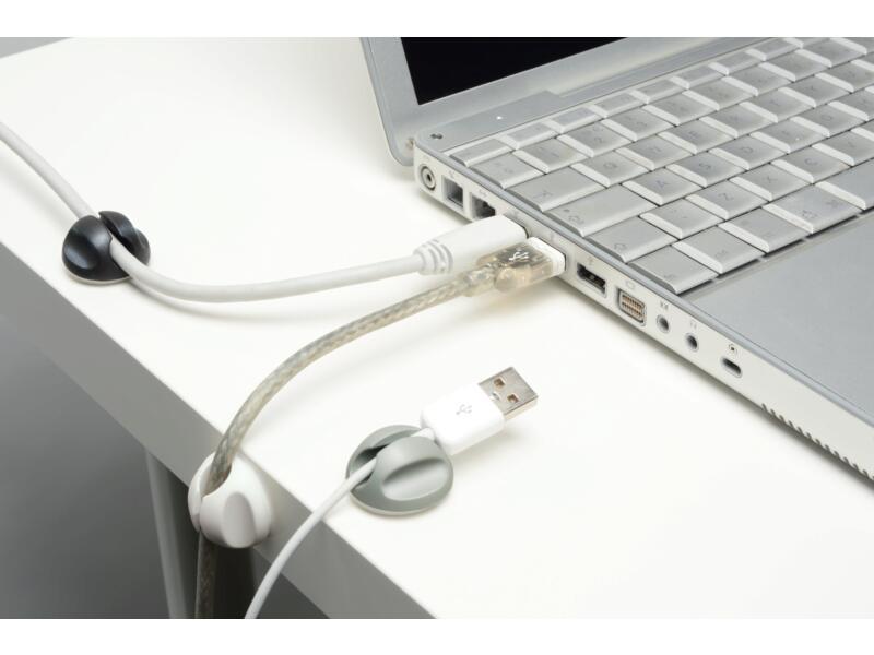 D-Line Cable Tidy Bases attache-câbles 6 pièces