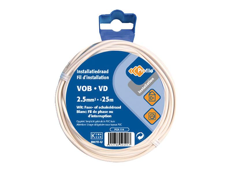 Profile Câble VOB 2,5mm² 25m blanc