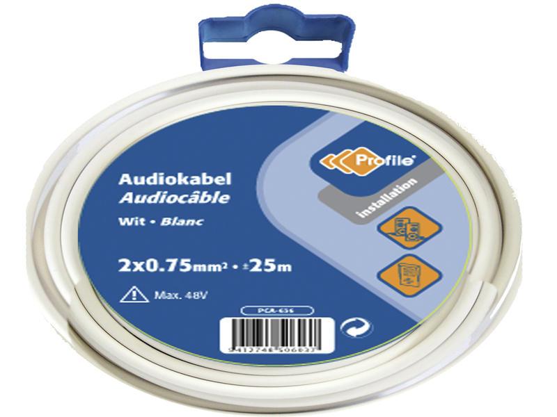 Profile Câble audio 2G 0,75mm² 25m blanc