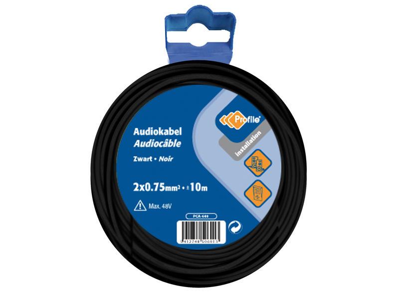 Profile Câble audio 2x0,75mm² 10m noir