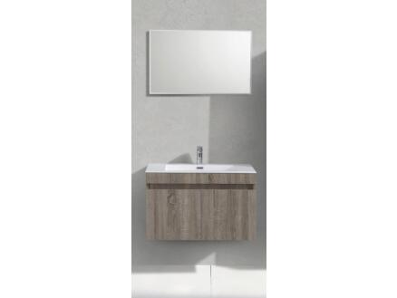 Sanimar Capri meuble salle de bains 80cm 2 portes chêne rustique clair