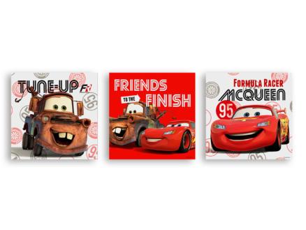 Disney Cars canvasdoek set 30x30 cm rood 3 stuks