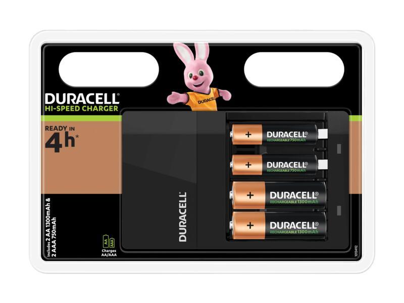 Duracell Chargeur de piles AA et AAA, 2xAA et 2xAAA incluses