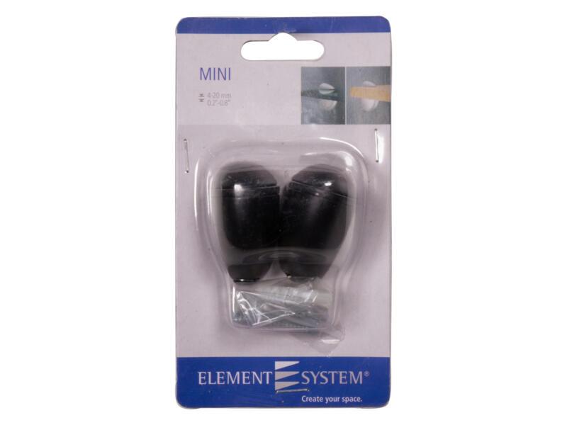 Clip mini 4-20 mm zwart 2 stuks