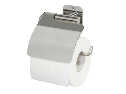 Tiger Colar porte-papier toilette avec couvercle inox brossé