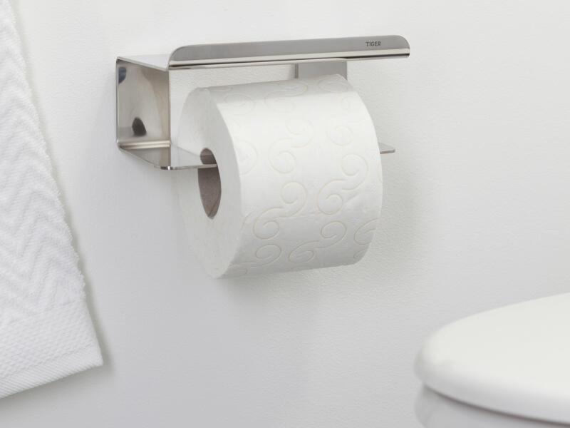 Tiger Colar porte-papier toilette avec tablette inox poli