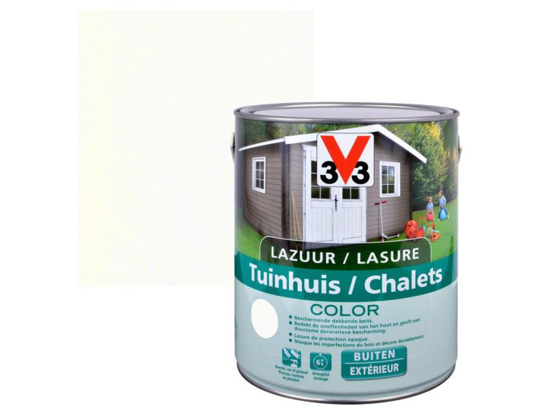 V33 Color houtbeits tuinhuis zijdeglans 2,5l ice white