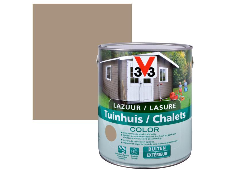 V33 Color houtbeits tuinhuis zijdeglans 2,5l sandstone