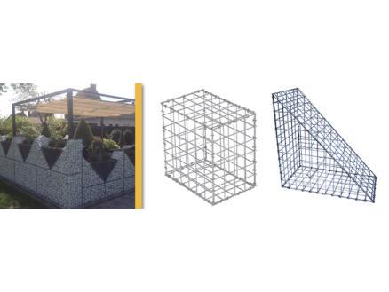 Giardino Como gabion 120x30x60 cm avec 200 crampons