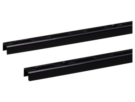 Crémaillère simple 100cm noir 2 pièces