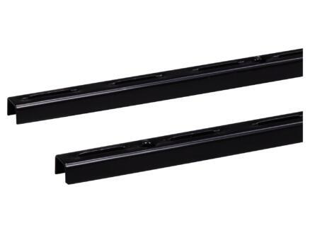 Crémaillère simple 50cm noir 2 pièces