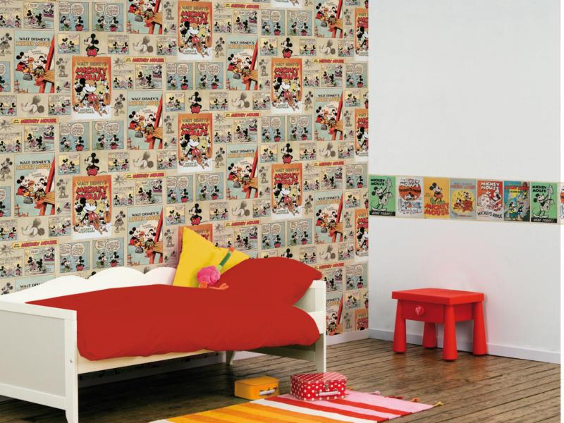 Disney Disney papier peint papier Mickey vintage multicolour