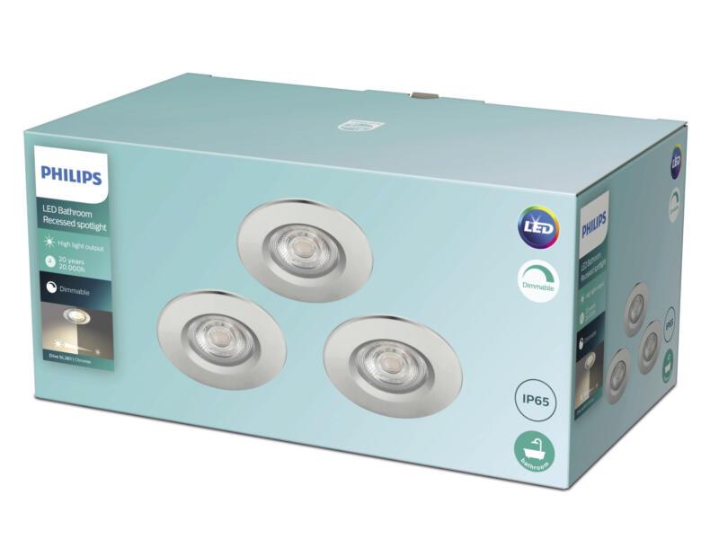 Philips Dive LED inbouwspot 3x5 W dimbaar chroom