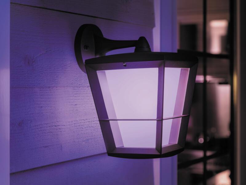 Hue Econic LED wandlamp 15W lage lantaarn dimbaar zwart