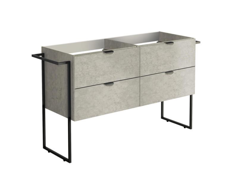 Allibert Faktory meuble lavabo 120cm 4 tiroirs béton minéral
