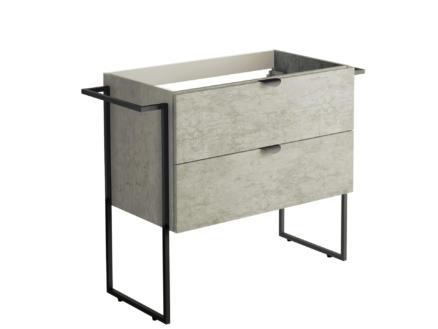 Allibert Faktory meuble lavabo 80cm 2 tiroirs béton minéral